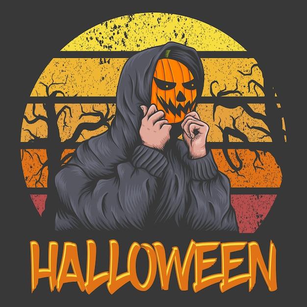 Mask pumpkin character in halloween sunset Premium Vector
