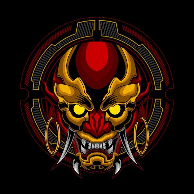 The mask ronin in futuristic circle ornament Premium Vector