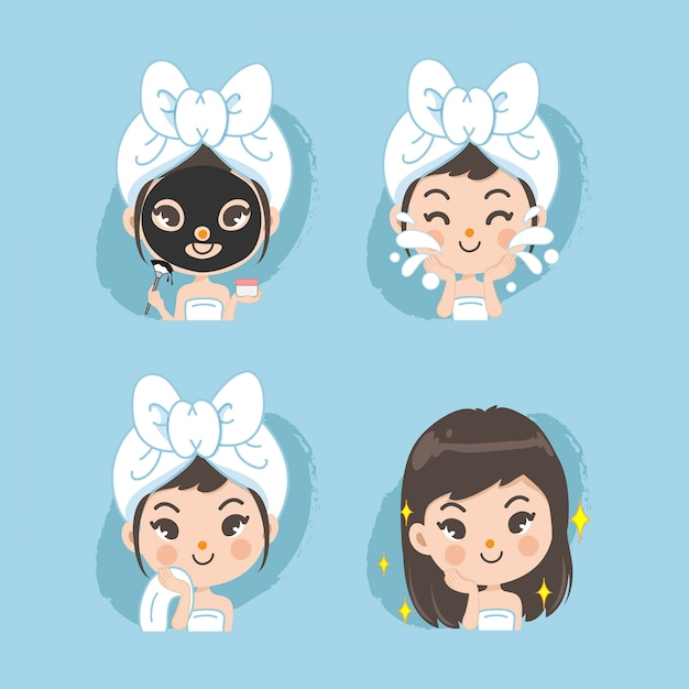 Mask treatment for women. Premium Vector
