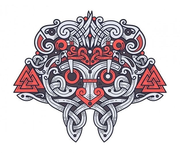 Mask of the viking god odin Premium Vector