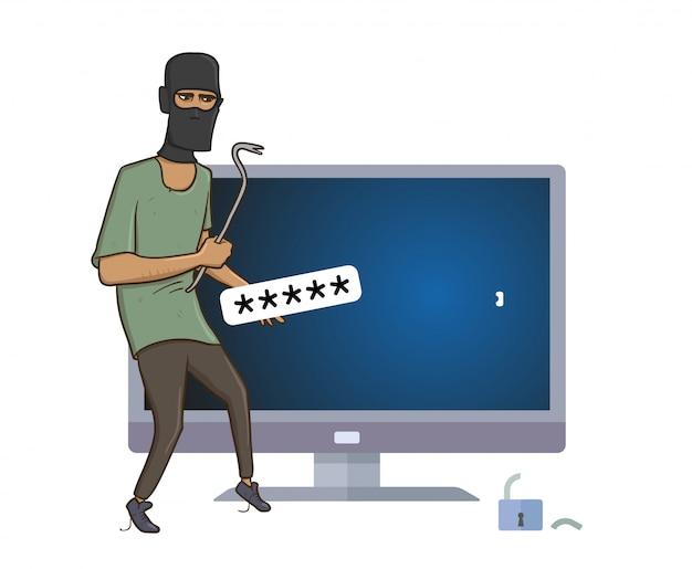 プーラーハッキングコンピューターで覆面をした強盗。 Premiumベクター