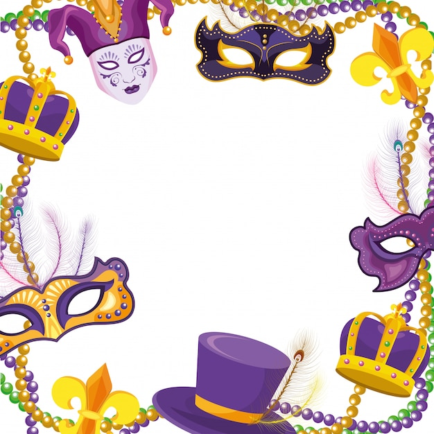 Masks and beads frame Premium Vector