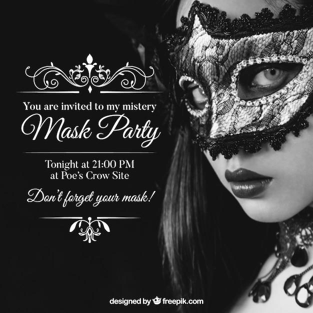 Masks party invitation Free Vector