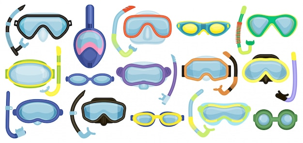 Masks for swimming   cartoon set icon. isolated cartoon set icon underwater glasses . Premium Vector