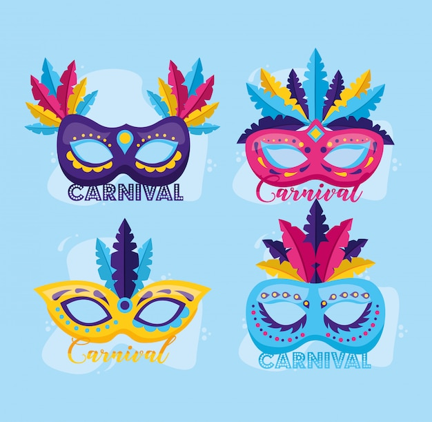Masks with feather carnival Free Vector