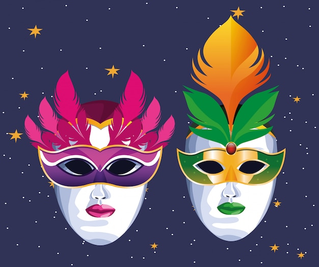 Masks with feathers Premium Vector