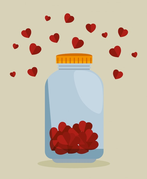 Mason jar with hearts for charity donation Free Vector