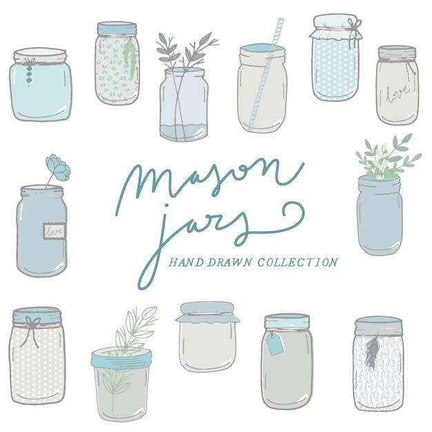 Mason jars hand drawn collection Premium Vector