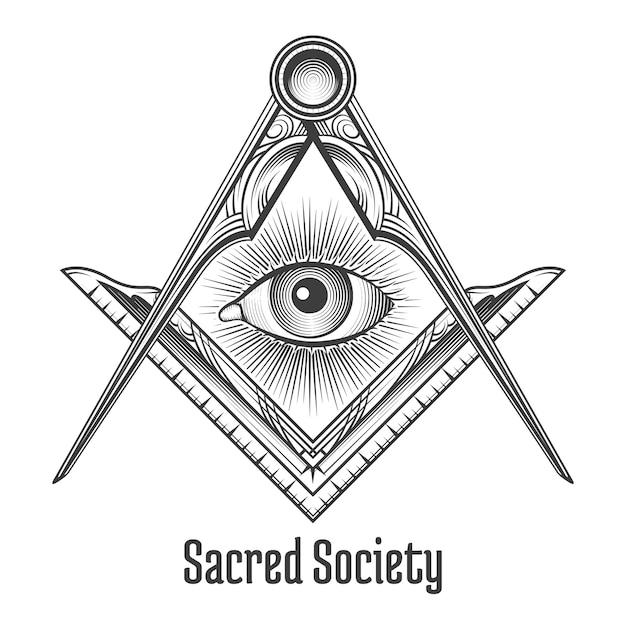 フリーメーソンの正方形とコンパスのシンボル。神秘的なオカルトの難解な、神聖な社会。 無料ベクター