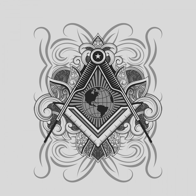 Masonic square and compass symbol Vector | Premium Download