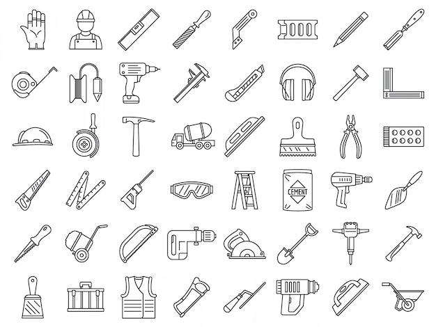 Masonry worker construction icon set Premium Vector