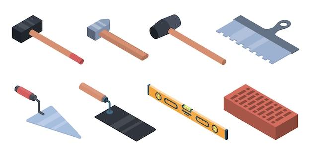 Masonry worker icons set. isometric set of masonry worker vector icons for web design isolated on white background Premium Vector