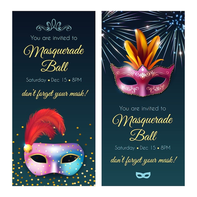 Masquerade ball invitation banners Free Vector