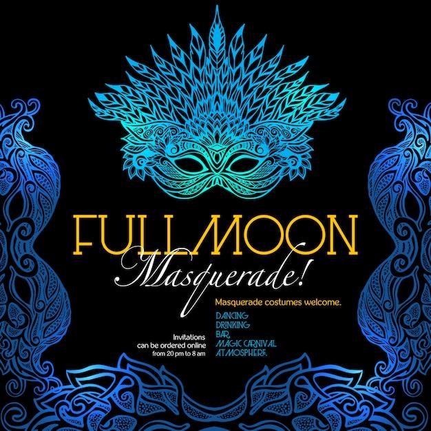 Masquerade ball poster Free Vector