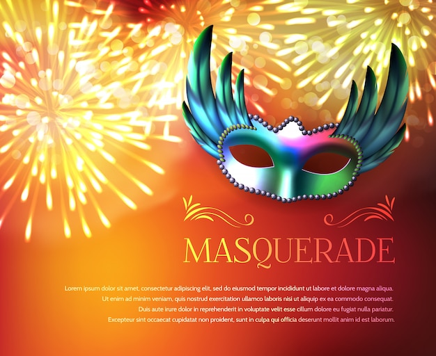 Masquerade fireworks display poster Free Vector