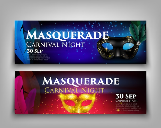 Masquerade mask banners Free Vector