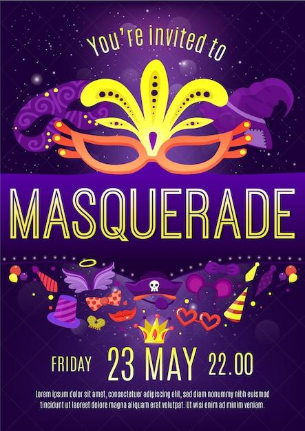 Masquerade night celebration invitation poster Free Vector