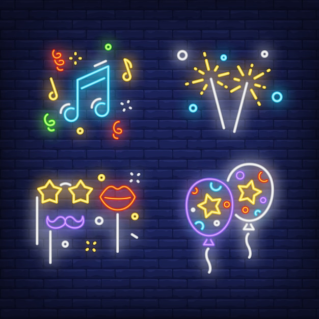 Masquerade party neon sign set. moustache on stick Free Vector