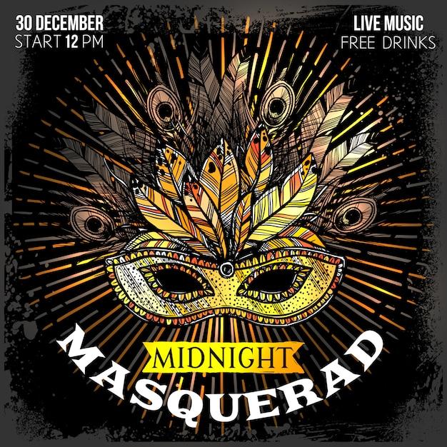 Masquerade party poster Free Vector
