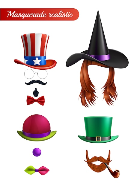 Masquerade set on white  with wig mustache beard tube tie butterfly bowler and saint patrick hats Free Vector