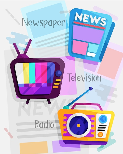 Mass media flat design set Premium Vector