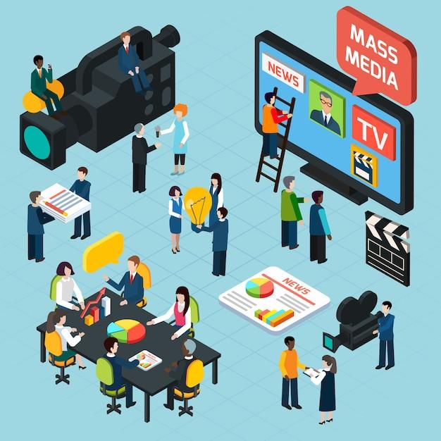 Mass media isometric concept Free Vector