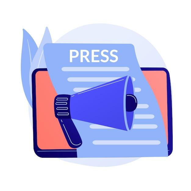 マスメディア、プレスリリース。新聞の発行、毎日のニュース、宣伝のアイデア。見出し付きのタブロイド紙。ルポルタージュ、ジャーナリズムのデザイン要素。 無料ベクター
