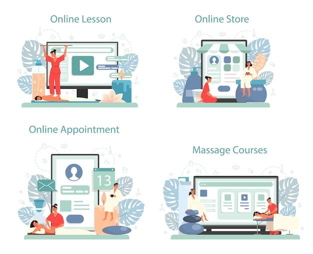 マッサージとマッサージ師のオンラインサービスまたはプラットフォームセット。 Premiumベクター