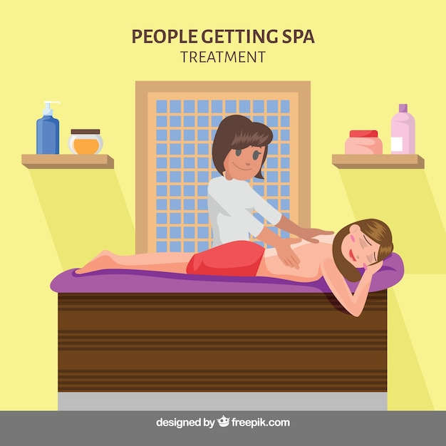 Massage scene in a spa