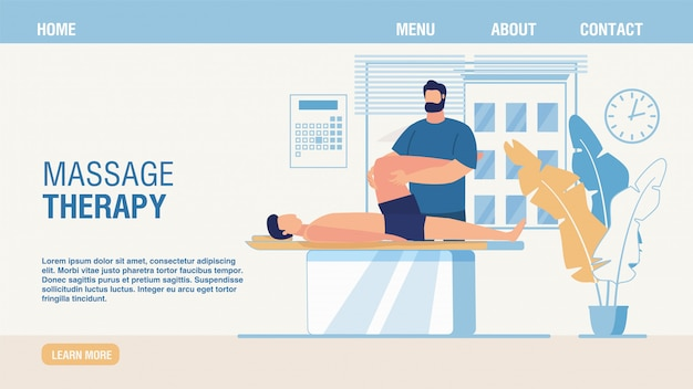 Massage therapy and rehabilitation landing page Premium Vector