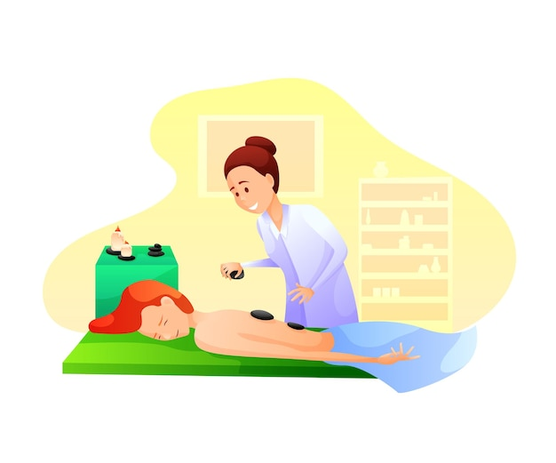 Massage therapy with hot rocks Premium Vector