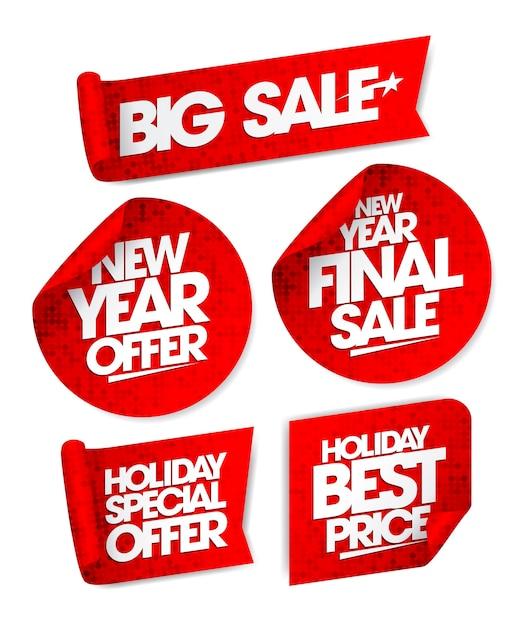 ショッピングバッグ付きの大規模な冬のセール。 Premiumベクター