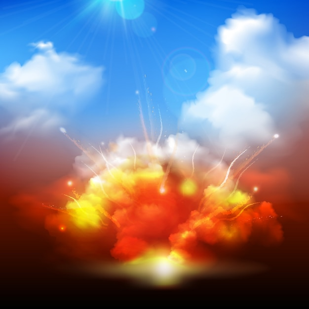 Massive yellow orange explosion bursting into blue cloudy sky with radiating sun rays Free Vector
