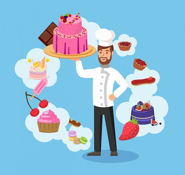 Master chef with bakery color vector illustration Premium Vector