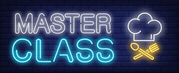 Master class neon text with chef cook hat and crossed spoon and fork Free Vector