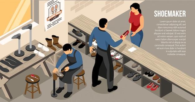 靴ワークショップ等尺性水平での顧客コミュニケーション中にマスター 無料ベクター