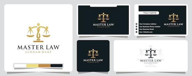 Иллюстрация логотипа магистра права Premium векторы