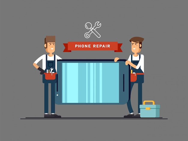 Master repairing mobile phone.  illustration in the  style for your . Premium Vector