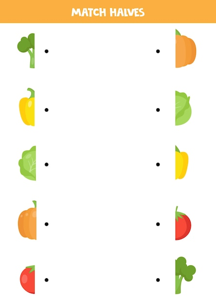 Premium Vector Match Halves Of Cartoon Vegetables. Logical Puzzle For  Preschool Kids. Educational Worksheet.
