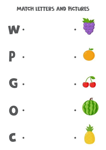 Premium Vector Match Letters And Pictures. Educational Logical Game For  Kids. Alphabet Learning Worksheet For Preschoolers. Cute Cartoon Fruits.