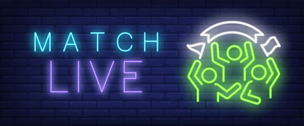 Match live neon text with sport fans Free Vector