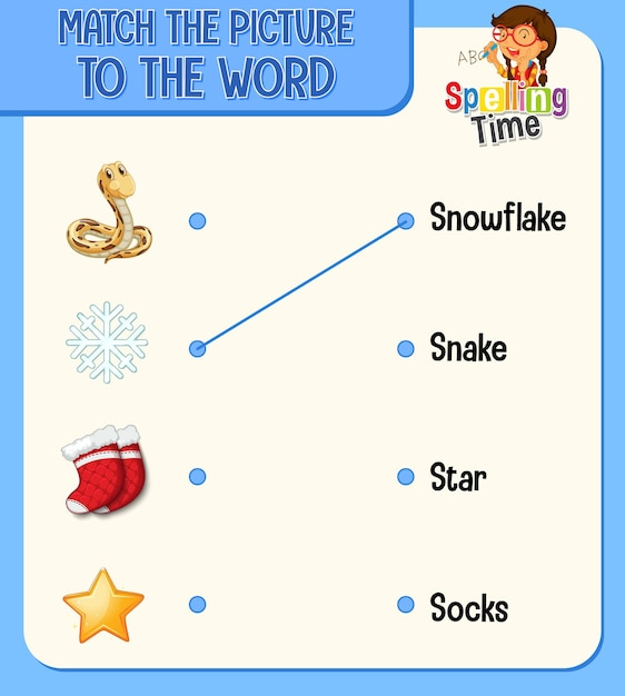 Match the picture to the word worksheet for children Free Vector
