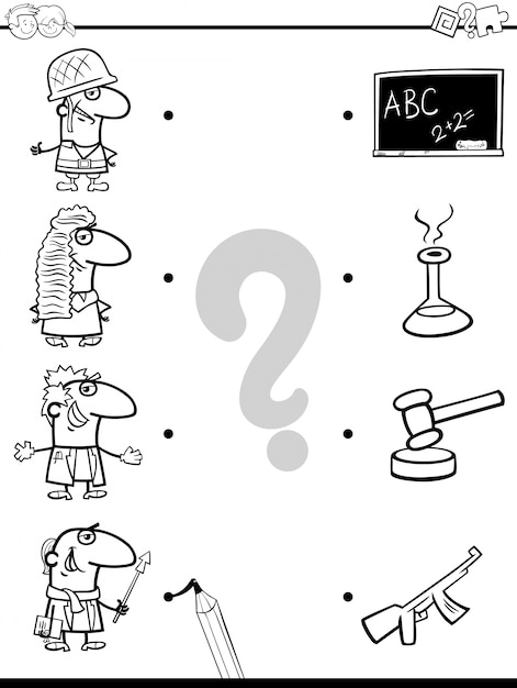 Match professions educational coloring book Vector | Premium Download