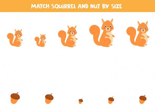 Подходим белку и орехи по размеру. рабочий лист для детей. Premium векторы