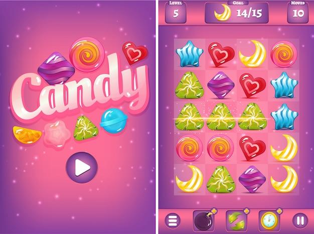 Игровой интерфейс match three с конфетами и бустерами Premium векторы