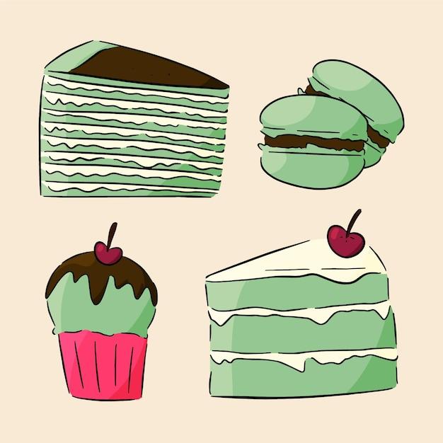 Концепция коллекции десертов матча Бесплатные векторы
