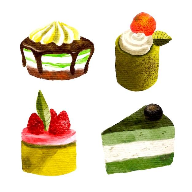 Matcha dessert collection concept Free Vector