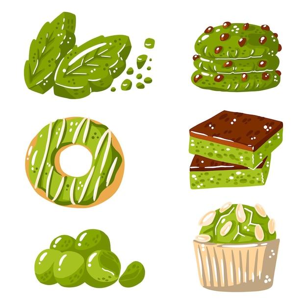 Матча десертная коллекция Бесплатные векторы
