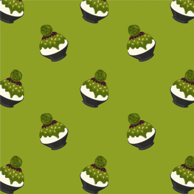 Matcha green tea bingsu cartoon pattern on green background Premium Vector