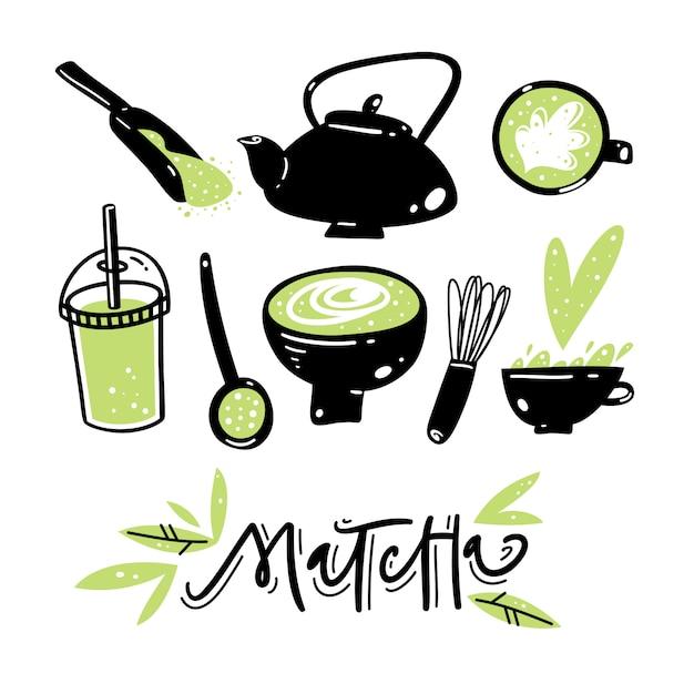 Набор рисованной зеленый чай матча вектор. Premium векторы